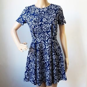 Forever 21 Floral A Line Blue and White Dress